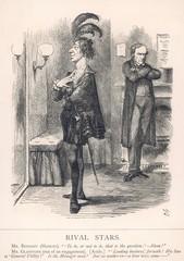 1868 Rival Stars Disraeli and Gladstone Punch Cartoon