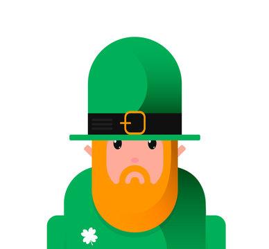 Tough cartoon flat icon Leprechaun St Patricks Day character,avatar for irish holiday