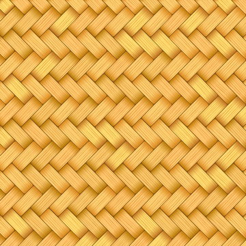 Reed mat with woven texture of crosshatched straws