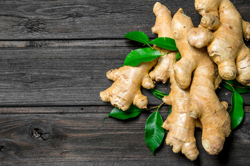 Fresh ginger with leaves.