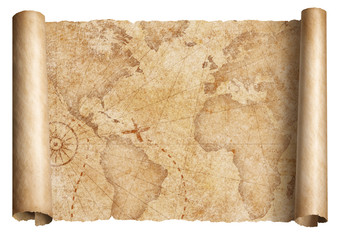 Vintage world map scroll isolated on white. Based on image furnished from NASA.
