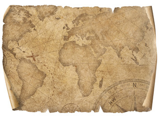 Vintage world map parchment isolated on white. Based on image furnished from NASA.