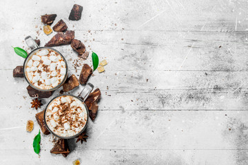 Canvas Prints Chocolate Hot chocolate with chunks of bitter chocolate and marshmallows.