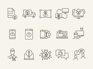 Technical help line icon set