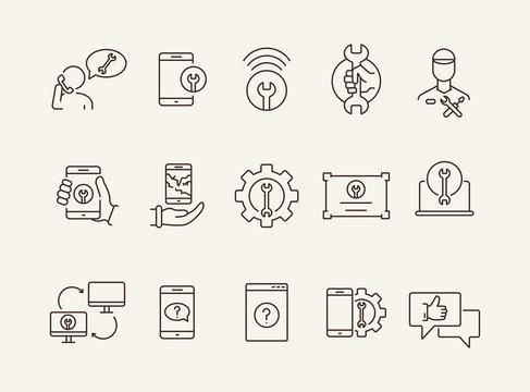 Mobile services line icon set