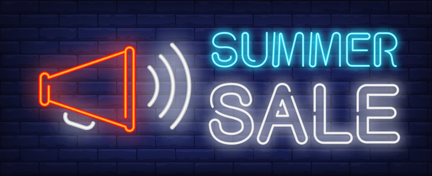 Summer sale neon text with megaphone