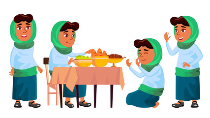 Arab, Muslim Girl Set Vector. Prayer. Religion. Breakfast. Traditional Clothes. For Banner, Flyer, Web Design. Isolated Cartoon Illustration