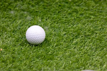 one golf ball is on green grass
