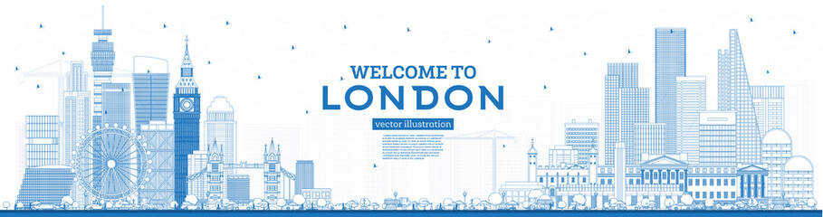 Wall Mural - Outline Welcome to London England Skyline with Blue Buildings.