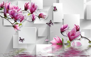 Fototapeta 3d illustration, light background, rectangles, butterflies, magnolia obraz