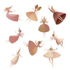 Collection of fabulous fairy on white background.