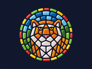 Vector mosaic. Round illustration of a tiger. Can be used for application on Souvenirs, dishes, packaging, as well as for stained glass, panels, textiles, and so on.