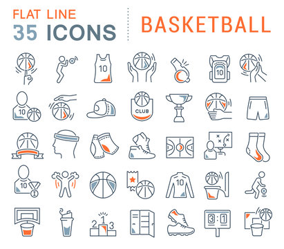 Set Vector Line Icons of Basketball.