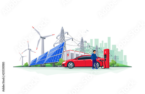 Vector illustration of electric car charging at charger