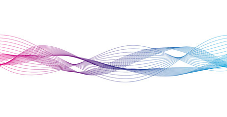 Wave of the many colored lines. Abstract wavy stripes on a white background isolated. Creative line art.