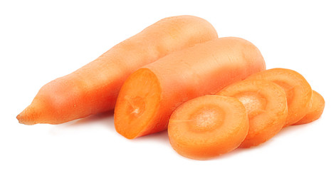 Carrots and slices isolated on white