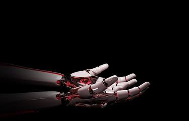 Red robot hand making contact with human hand 3D rendering