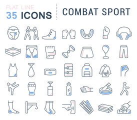Set Vector Line Icons of Combat Sport.