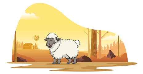 sheep in the farm with cartoon style