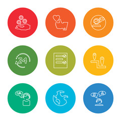 outline stroke translator, world, customer service, placeholder, test, 24 hours, customer service, like, settings, vector line icons set on rounded colorful shapes
