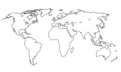 Best doodle world map for your design. Hand drawn freehand editable sketch. Planet Earth simple graphic style. Vector line illustration, EPS 10