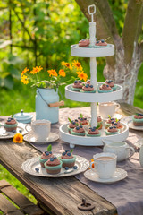 Sweet brown cupcake served with coffee in garden