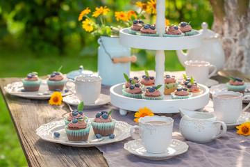 Homemade brown cupcake in sunny summer garden