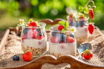 Tasty granola with berries and yoghurt in jar