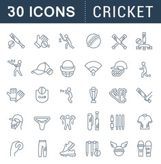 Set Vector Line Icons of Cricket.