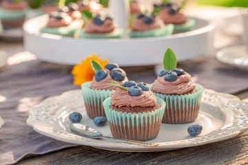 Sweet brown cupcake made of cream and fresh berries