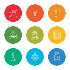 outline stroke vase, compass, shovel, document, mummy, hat, hammer, shovel, skull, vector line icons set on rounded colorful shapes
