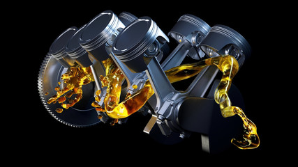 3d illustration of car engine with lubricant oil on repairing. Concept of lubricate motor oil Wall mural