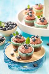 Tasty cupcake made of chocolate cream and berries
