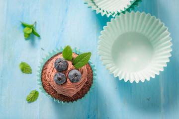 Delicious cupcake made of chocolate cream and berries