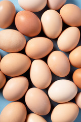 Background of brown eggs on blue background