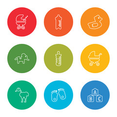outline stroke cubes, footprints, stork, baby carriage, feeding bottle, elephant, rubber duck, feeding bottle, baby carriage, vector line icons set on rounded colorful shapes