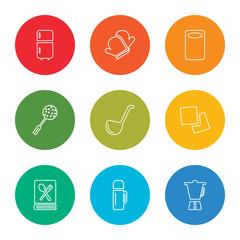 outline stroke mixer, bottle, recipe, napkin, ladle, skimmer, kitchen board, mitten, fridge, vector line icons set on rounded colorful shapes