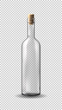 Empty realistic wine bottle isolated on transparent background. Vector illustration with transparent glass bottle.