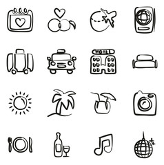 Honeymoon Trip Icons Freehand
