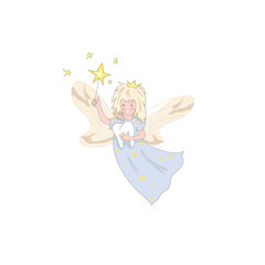 Cute kawaii tooth fairy with magic stick and tooth icon isolated