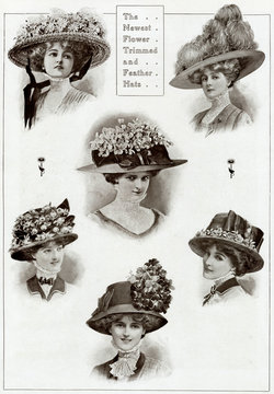 Edwardian Floral and Feathered Hats 1909