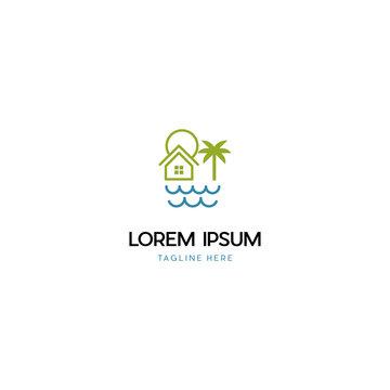 Home Vacation Ocean Creative Design Logo
