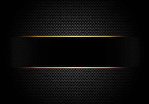 Carbon fiber background and texture and lighting with black label and gold line. Luxury style. Material wallpaper for car tuning or service.