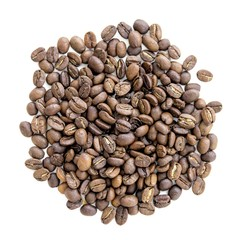 Coffee beans in bulk on a homogeneous background