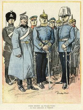 Cartoon, German OfficerBoche Faces , Ww1