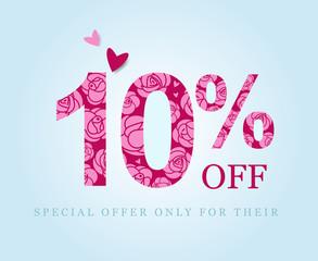 10 off. ten percent discount. Pink roses