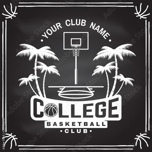 College basketball club badge on the chalkboard  Vector illustration