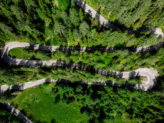 WInding curvy road in green spring forest, aerial view