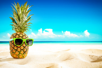 Fresh fruit on beach and summer time