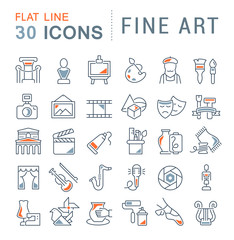 Set Vector Line Icons of Fine Art.